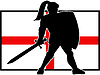 Englisch Ritter Schild Schwert England-Flagge Retro