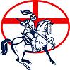 Englisch-Ritter-Reitpferde England Flaggen-Kreis