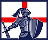 Englisch Ritter mit Schwert England-Flagge Retro