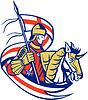Englisch Ritter England-Flaggen-Schild Pferde Retro