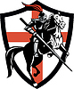 Englisch-Ritter-Reitpferde England-Flagge Retro