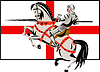 Vector clipart: English Knight Lance Horse England Flag Side Retro
