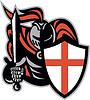 Englisch Ritter mit Schwert Schild Retro England