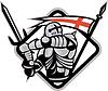Englisch Ritter Kampf Schwert England-Flagge Retro