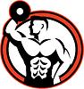 ID 4167880 | Bodybuilder Lifting Dumbbell Retro | Stockowa ilustracja wysokiej rozdzielczości | KLIPARTO