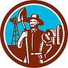 Organic Farmer Schaufel Windmühle Holzschnitt-Retro