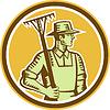 Organic Farmer Rake Retro Holzschnitt
