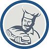 Baker Halten Brot-Laib Retro Kreis