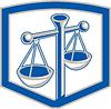 Waage der Gerechtigkeit Schild Retro