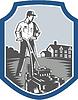 Gärtner Mow Rasenmäher Holzschnitt-Schild