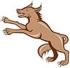 Wolf Wilder Hund auf den Hinterbeinen Cartoon
