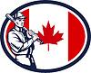 Canadian Baseball Batter Kanada-Flagge Retro