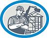 Векторный клипарт: Строитель Строитель Механические экскаватор Овальный