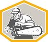 Baumdoktor Baumpfleger Halten Chainsaw Schild