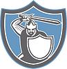 Kreuzfahrer-Ritter Brandish Schwert Schild Retro