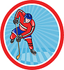 冰球运动员前面棒卡通 | 光栅插图
