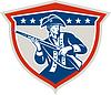 American Patriot Halten Muskete Gewehr Schild Retro
