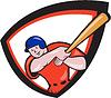 Baseballspieler Frontschild Cartoon