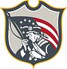 Patriot-Holding amerikanische Flagge Schild Retro