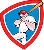 Baseballspieler Crest Red Cartoon