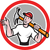 Carpenter Builder Hammer Kreis Cartoon