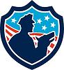 Amerikanischen Security Guard Mit Polizeihund Schild