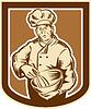 Baker Chef-Koch-Rührschüssel Retro Holzschnitt