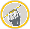 Elektriker Halten Lightning Bolt Side Retro