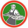 Baker Holding-Peel Mit Pizza Kreis Retro