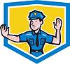 Verkehrspolizist Stop Hand Signal Schirm Cartoon