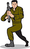 士兵瞄准冲锋枪卡通 | 光栅插图
