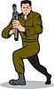 Soldaten mit dem Ziel Maschinenpistole Cartoon | Stock Illustration