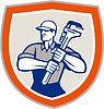 ID 4245242 | Plumber Holding Giant Monkey Wrench Shield | Stockowa ilustracja wysokiej rozdzielczości | KLIPARTO