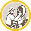 TV-Satellitenschüssel Installer Retro Kreis | Stock Illustration