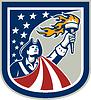 American Patriot-Holding Up Torch Flaggen-Schild