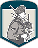 Schotte spielt Dudelsack Dudelsackspieler Retro-Kamm
