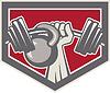 Handheben Langhantel und Kettlebell-Schild