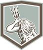 Neptun Holding-Trident-Schild Retro