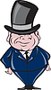 Man Wearing Top Hat Smiling Cartoon