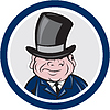 Man Wearing Top Hat Lächeln Kreis Cartoon