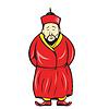 Chinesischen asiatischen Mann tragen Robe Cartoon