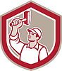 Union Worker Wielding Hammer Schild Retro