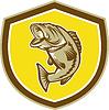 Forellenbarsch Springen Schild Retro