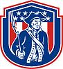 American Patriot Halten Bajonett Gewehr Schild Retro