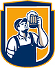 Bartender Toast Bierkrug Schild Retro