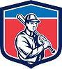 Baseball Bat Halten Schulter Retro