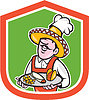 Mexican Chef-Koch-Schild Cartoon