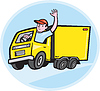 Liefer Truck Driver Waving Cartoon