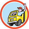 Liefer Truck Driver Waving Kreis Cartoon