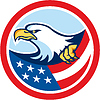 American Bald Eagle Greif Flaggen-Kreis Retro
